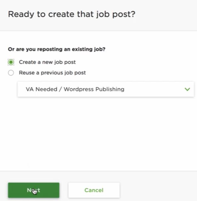 Create a new job post